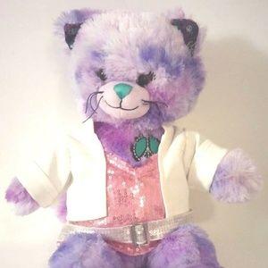 "Build A Bear Purple Peace Love Kitty Cat 16"""